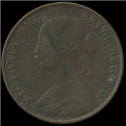 1861 Britain Victoria Half Penny Better Grade Scarce Variety (COI-7053)