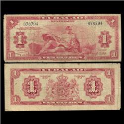 1942 Curaco $1 Note Circulated RARE (CUR-05798)