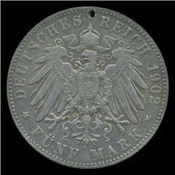 1902 Germany Hamburg 5 Mark Rare Hi Grade Holed (COI-5248)