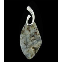 60ct Carved Druzy Agate Pendant Super Sparkler With Sterling (JEW-1711)