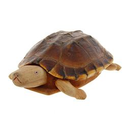 Handcarved Teak Turtle Real Turtle Shell  (CLB-404)