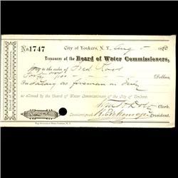1880 Yonkers NY Water Board Bank Draft (COI-3264)