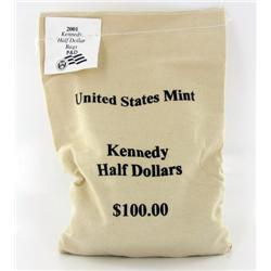 2001P/D JFK Half $100 Mint Unopened Bag 200 Pieces Brilliant Uncirculated (COI-6496)