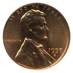 1958D US Lincoln Cent Coin MS66 Red (COI-4244)