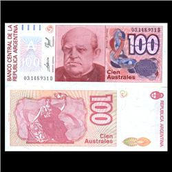 1990 Argentina 100 Australes Note Crisp Uncirculated (CUR-05940)