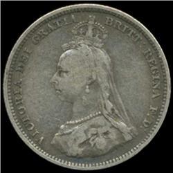 1888/7 Britain Victoria Shilling High Grade (COI-7040)