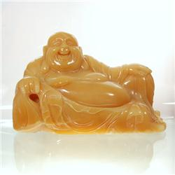 Yellow Jade Seated Laughing Buddha (CLB-127)