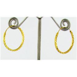 """22k Gold Vermeil Earrings 1"""" (JEW-1602)"""