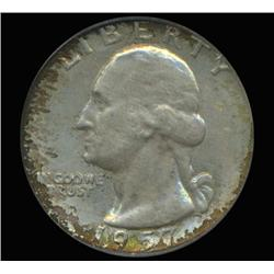 1957D Washington 25c Quarter Coin Graded PCGS MS66 Fabulous Iridescent Toning (COI-6408)