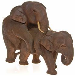 Loving Elephants Handcarved in Teak  (CLB-112)