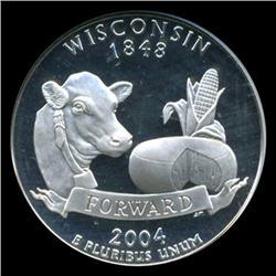 2004S Wisconsin Silver Quarter Graded NGC PR70 DCAM (COI-5468)