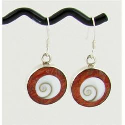 Sterling Red Coral & Shell Earrings (JEW-1396)
