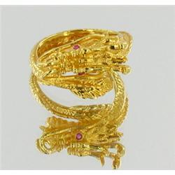 Ladies Dragon Ring 22k Gold Vermeil (JEW-1377)