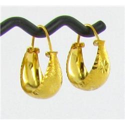 """22k Gold Vermeil Earrings 3/4"""" (JEW-1596)"""