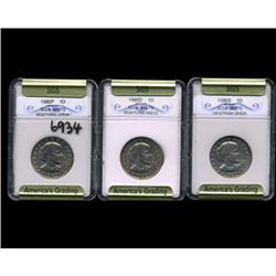 1980P D & S Anthony Dollar Coin Graded GEM Set of 3 (COI-6934)