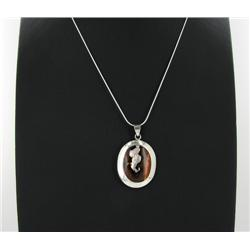 Sterling Red Coral & Mother of Pearl Pendant Necklace (JEW-1417)