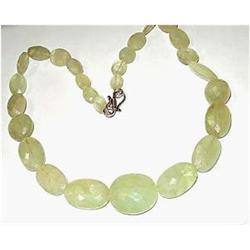 384ct Natural Untreated Hand Faceted Green Beryl Necklace (JEW-1812)