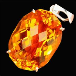 190.57ct Sterling Pendant Oval Golden Yellow Citrine (JEW-1838)