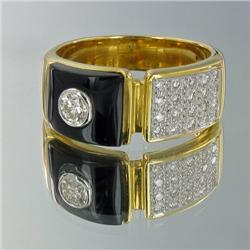 18k Solid Yellow Gold Mens 1 ct Diamond Black Onyx Ring 10 grams (JEW-1436)