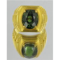 5.5ct Mens Green Tourmaline Ring 22k Solid Yellow Gold 10.5 grams (JEW-1689)