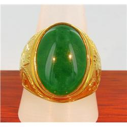 23k Solid Yellow Gold Mens Jade Ring 16 grams (JEW-1425)
