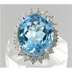 12.2ct Sky Blue Topaz & Diamond 14k Gold Ladies Ring (JEW-1772)