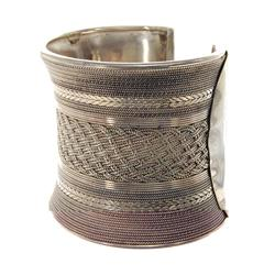 Handmade Hill Tribe Sterling Silver Cuff Bracelet (JEW-122)