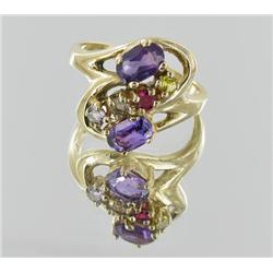 20ctw Stinning Ladies 10k Multi-gem Ring (JEW-2028)