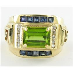 4ct Mens Top Peridot Sapphire Diamond 14k Ring (JEW-1482)