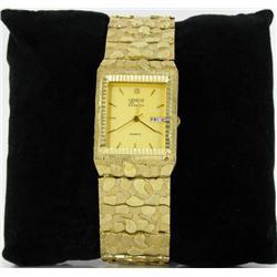10K Gold Mens Geneve Nugget Watch Retail $6500 (WAT-155)