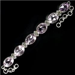 150.45ct Dazzling Top Platinum Pink Amethyst Sterling Bracelet   (JEW-1850)