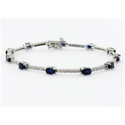 3+ct Ceylon Sapphire & Diamond 14k White Gold Bracelet (JEW-1695)