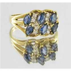 1.3ct Ceylon Blue Sapphire & Diamond 10k Gold Ladies Ring (JEW-1474)