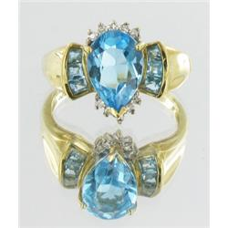 3.6ct Blue Topaz & Diamond 10k Gold Ladies Ring (JEW-1679)