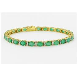 9+ct Colombian Emerald & Diamond 14k Gold Bracelet (JEW-1698)