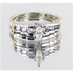 .35ct VVS White Diamond 10kt White Gold Engagement & Wedding Ring Set (JEW-2030)