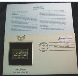 936. 1981 22K Gold Stamp First Day Cover  Alcoholism