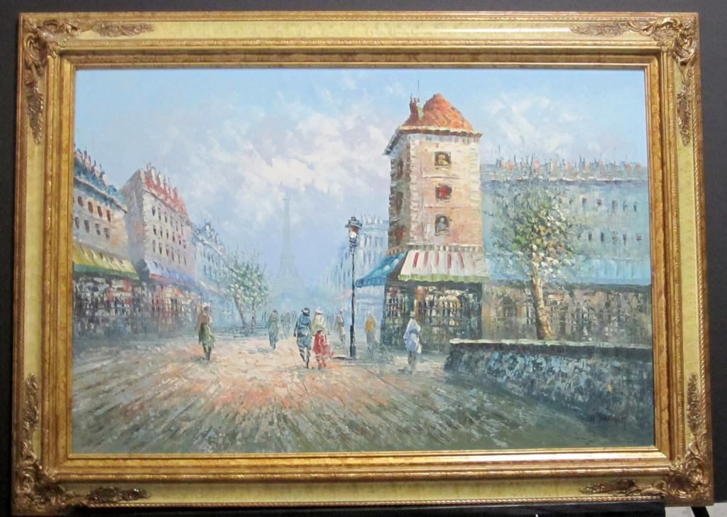 Framed Oil of Paris Street Scene By Burnett