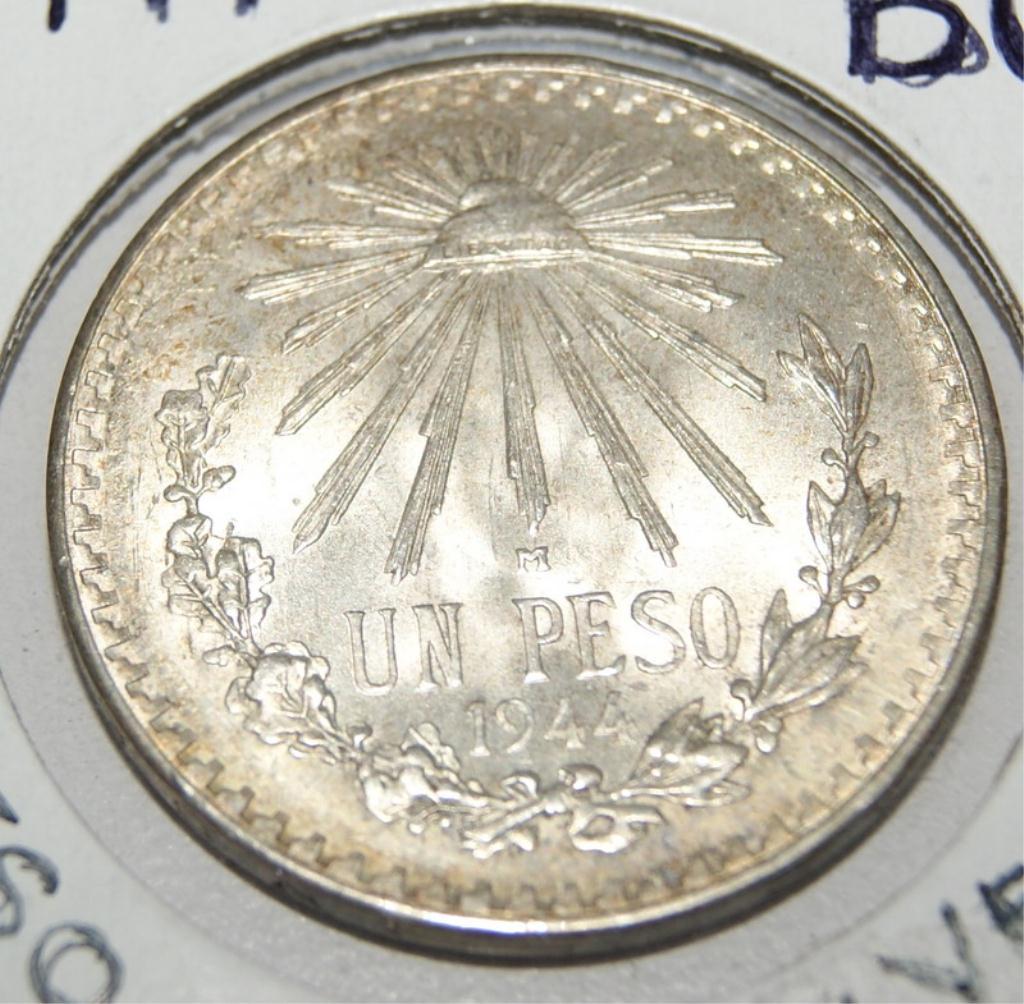 1944 BU Mexican Peso Silver Coin