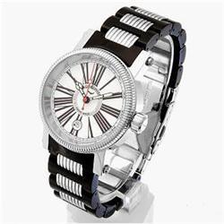 New Aquaswiss Mens Black SS Sport Watch Retail $2995 (WAT-124)