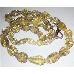 185 Natural Hand Carved Lemon Citrine Beads Necklace (JEW-1809)