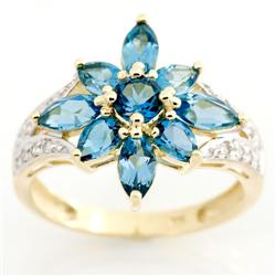 2.81Ct London Blue Topaz & 16 Diamond 9K Gold Ring (JEW-9034X)