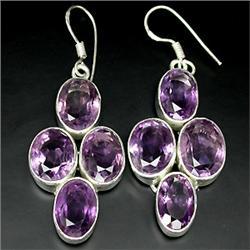 99ct Deluxe Top Purple Amethyst Sterling Big Earrings   (JEW-1853)
