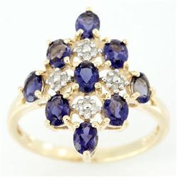 1.78Ct Genuine Iolite & 16 Diamond Solid 9K Gold Ring (JEW-9162X)