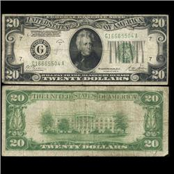 1928B $20 Federal Reserve Chicago Note Circulated Scarce (CUR-05999)