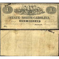 1863 North Carolina $1 Note Scarce Circulated (CUR-06256)