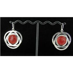 Sterling Red Coral Earrings (JEW-1385)