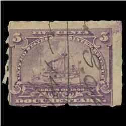 1898 US 5c Documentary Revenue Stamp NICE (STM-0536)