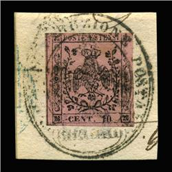 1852 RARE Italy Modena 15c Postal Stamp Hi Grade On Paper With Full Cancel (STM-0191)