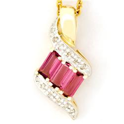 1.02Ct Pink Tourmaline & 12 Diamond 9K Gold Pendant (JEW-9039X)